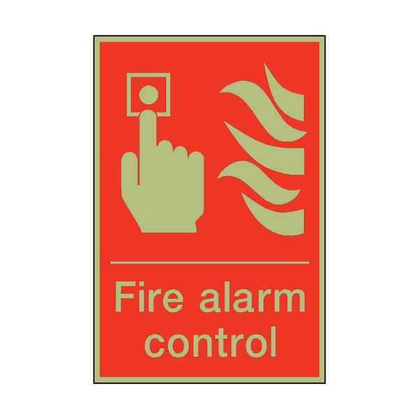 Photoluminescent Fire Alarm Control Sign | PVC Safety Signs