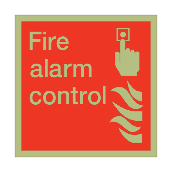 Photoluminescent Fire Alarm Control Square Sign - PVC Safety Signs