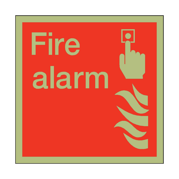 Photoluminescent Fire Alarm Square Sign | PVC Safety Signs