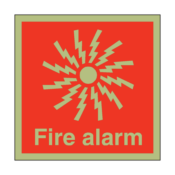 Photoluminescent Fire Alarm Symbol Safety Sign - PVC Safety Signs