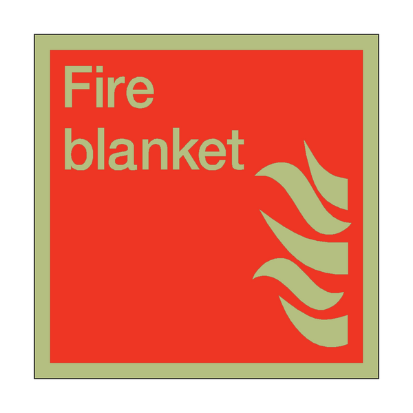 Photoluminescent Fire Blanket Square Sign | PVC Safety Signs