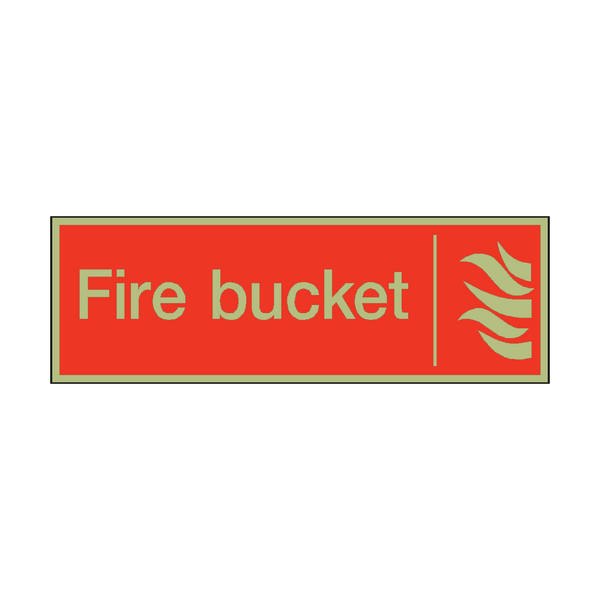 Photoluminescent Fire Bucket Safety Sign - PVC Safety Signs