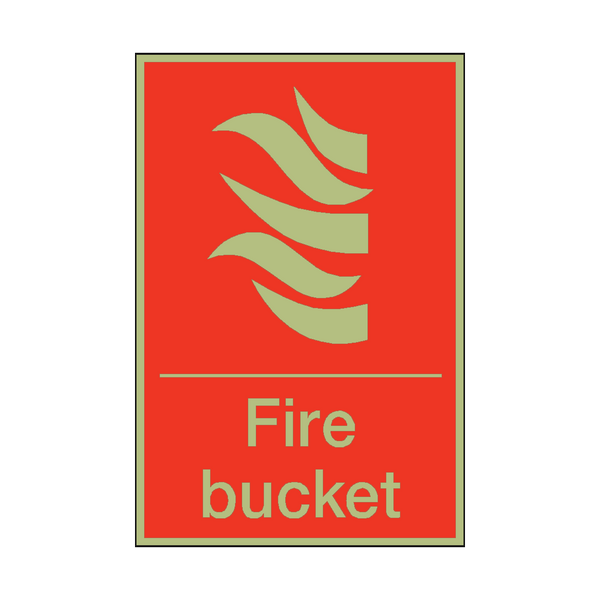 Photoluminescent Fire Bucket Sign | PVC Safety Signs