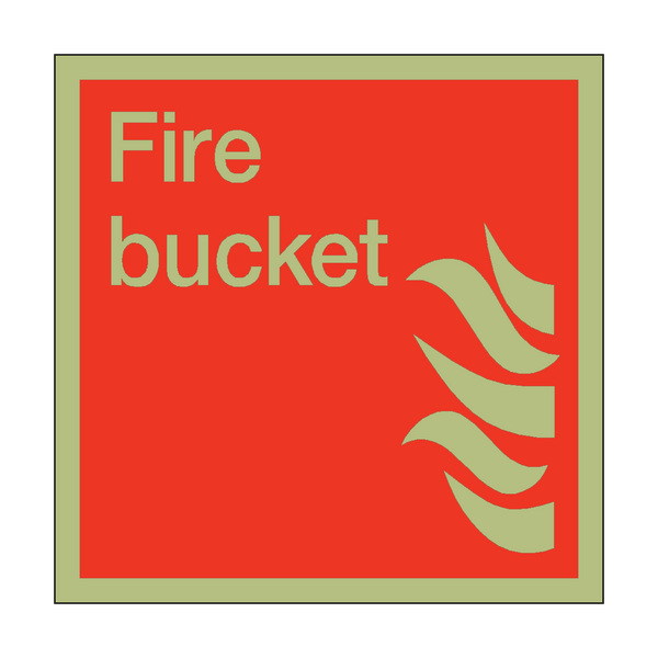 Photoluminescent Fire Bucket Square Sign - PVC Safety Signs
