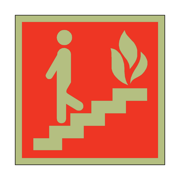 Photoluminescent Fire Exit Steps Safety Sign | PVC Safety Signs