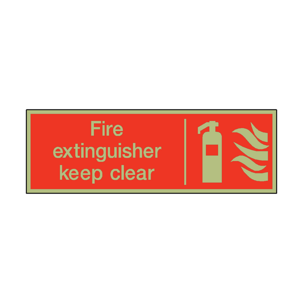 Photoluminescent Fire Extinguisher Keep Clear Safety Sign | PVC Safety Signs