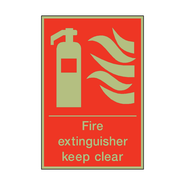 Photoluminescent Fire Extinguisher Keep Clear Sign | PVC Safety Signs