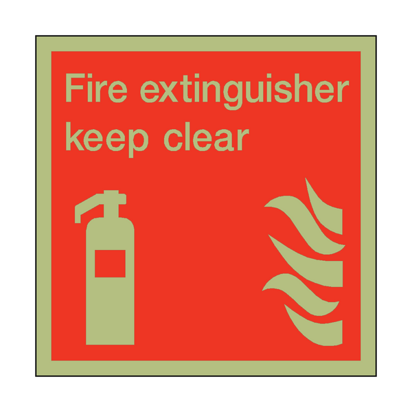 Photoluminescent Fire Extinguisher Keep Clear Square Sign - PVC Safety Signs