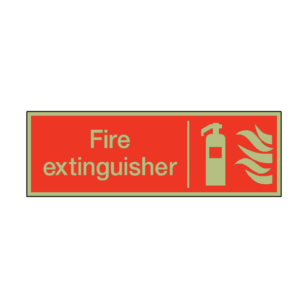 Photoluminescent Fire Extinguisher Safety Sign - PVC Safety Signs
