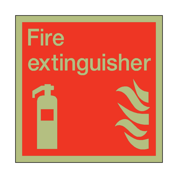 Photoluminescent Fire Extinguisher Square Safety Sign | PVC Safety Signs