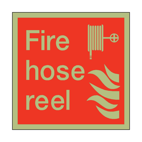Photoluminescent Fire Hose Reel Square Sign | PVC Safety Signs