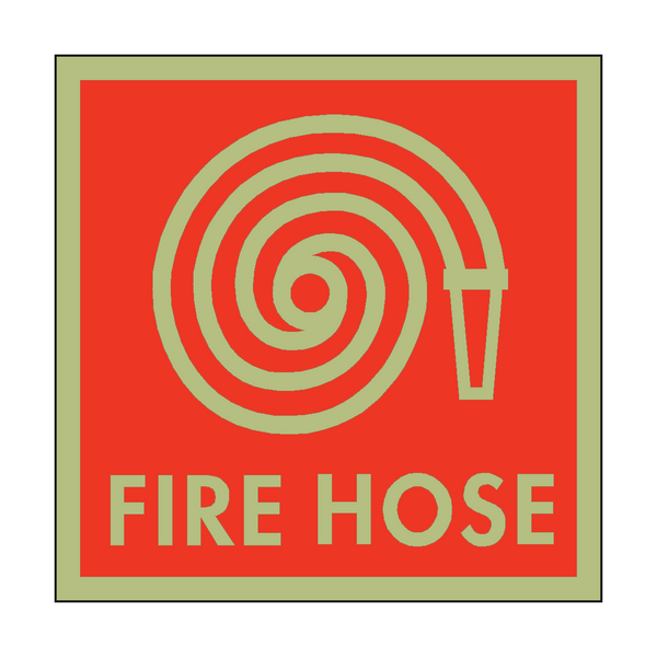 Photoluminescent Fire Hose Symbol Safety Sign - PVC Safety Signs