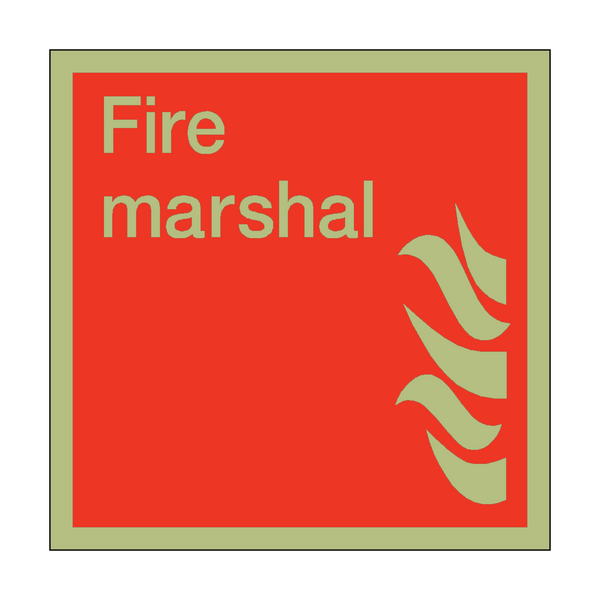 Photoluminescent Fire Marshal Square Sign | PVC Safety Signs