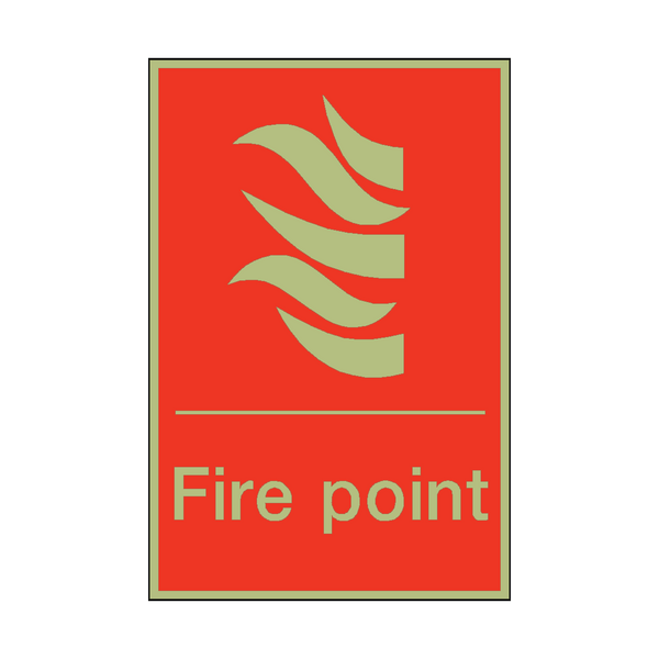 Photoluminescent Fire Point Sign | PVC Safety Signs