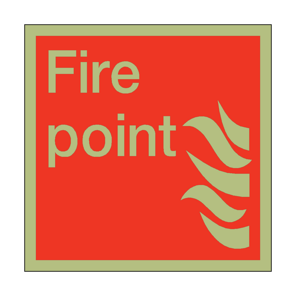 Photoluminescent Fire Point Square Sign | PVC Safety Signs