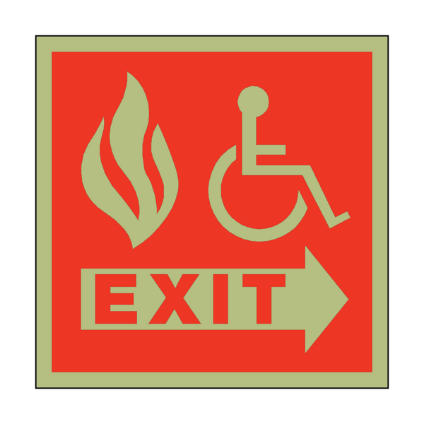 Photoluminescent Fire Safety Exit Disabled Sign | PVC Safety Signs