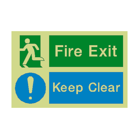 Fire Exit Keep Clear Photoluminescent Sign - PVC Safety Signs