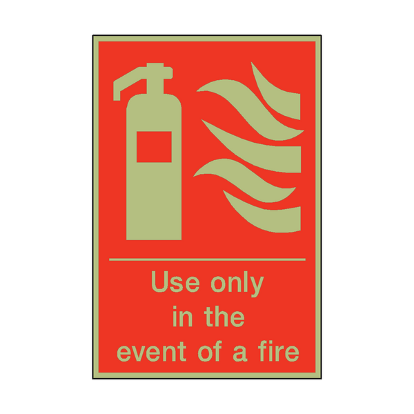 Photoluminescent Use Only In The Event Of Fire Sign | PVC Safety Signs