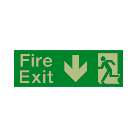 Fire Exit Arrow Down Photoluminescent Sign | PVC Safety Signs