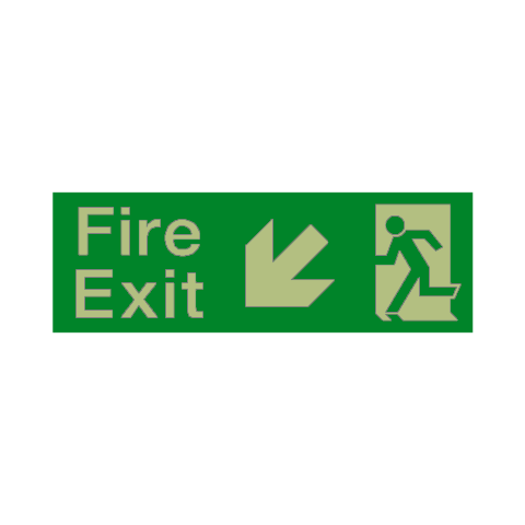 Fire Exit Arrow Down Left Photoluminescent Sign - PVC Safety Signs