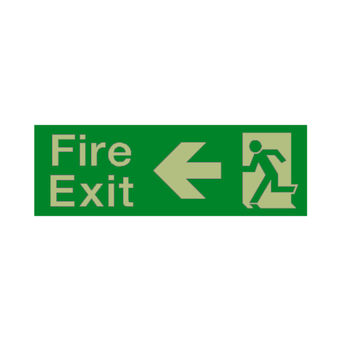 Fire Exit Arrow Left Photoluminescent Sign | PVC Safety Signs
