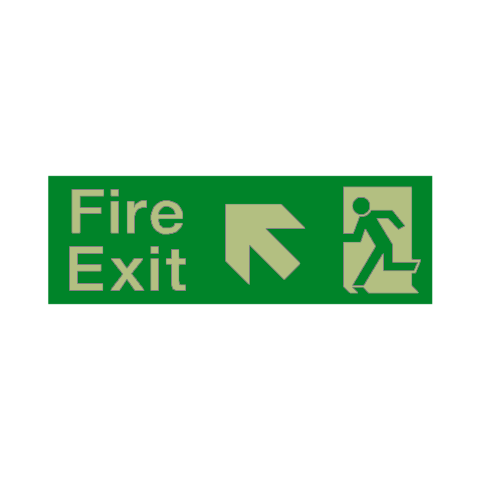 Fire Exit Arrow Up Left Photoluminescent Sign | PVC Safety Signs