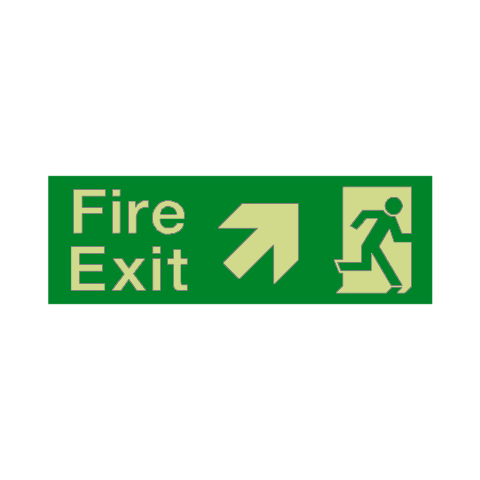 Fire Exit Arrow Up Right Photoluminescent Sign | PVC Safety Signs