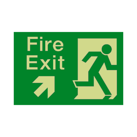 Fire Exit Up Right Arrow Photoluminescent Sign | PVC Safety Signs