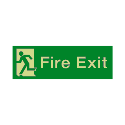 Fire Exit Running Man Left HSE Photoluminescent Sign | PVC Safety Signs