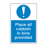 Rubbish In Bin Mandatory Sign | PVCSafetySigns.co.uk