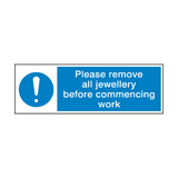 Please Remove Jewellery Before Work Sign | PVCSafetySigns.co.uk