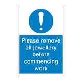 Please Remove Jewellery Sign | PVCSafetySigns.co.uk