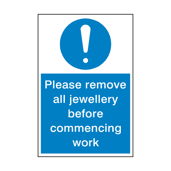 Please Remove Jewellery Sign | PVC Safety Signs