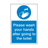 Please Wash Hands After Toilet Sign | PVCSafetySigns.co.uk