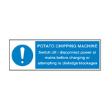 Potato Chipping Machine Instructions Hygiene Sign | PVCSafetySigns.co.uk