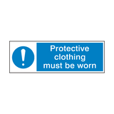 Protective Clothing Must Be Worn Mandatory Sign | PVCSafetySigns.co.uk