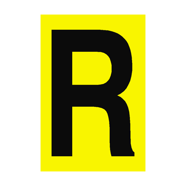 Letter R Yellow Sign - PVC Safety Signs