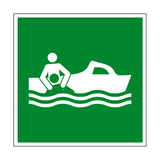 Rescue Boat Symbol Sign - PVC Safety Signs