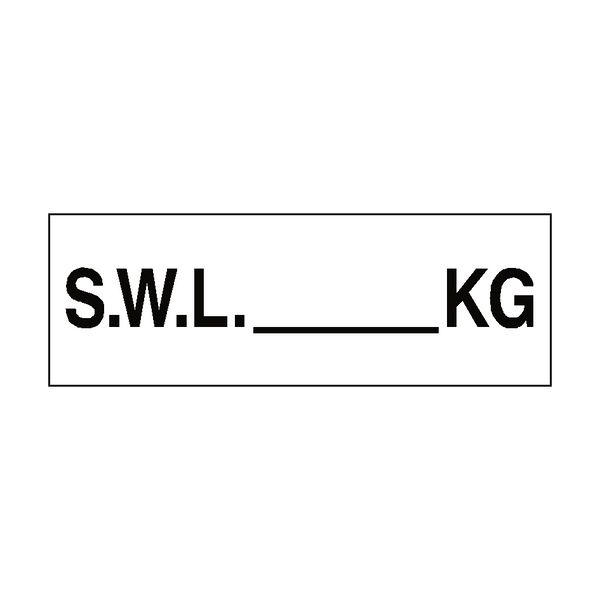 S.W.L Sign KG White - PVC Safety Signs