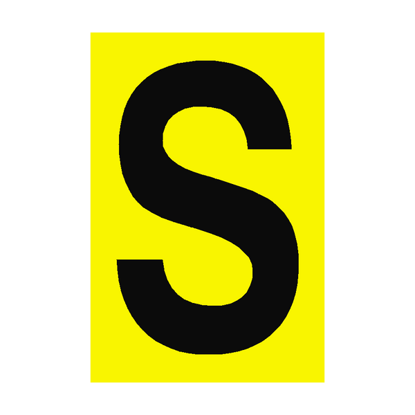 Letter S Yellow Sign | PVC Safety Signs