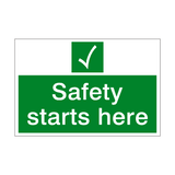 Safety Starts Here Sign | PVCSafetySigns.co.uk