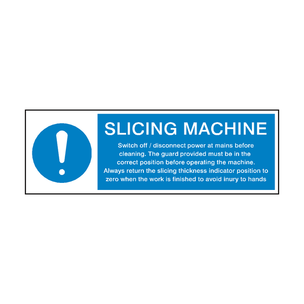 Slicing Machine Instructions Hygiene Sign | PVC Safety Signs