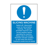 Slicing Machine Instructions Sign | PVCSafetySigns.co.uk