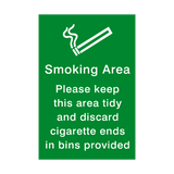 Smoking Area Keep Tidy Sign - PVC Safety Signs