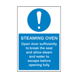 Steaming Oven Instructions Sign | PVCSafetySigns.co.uk