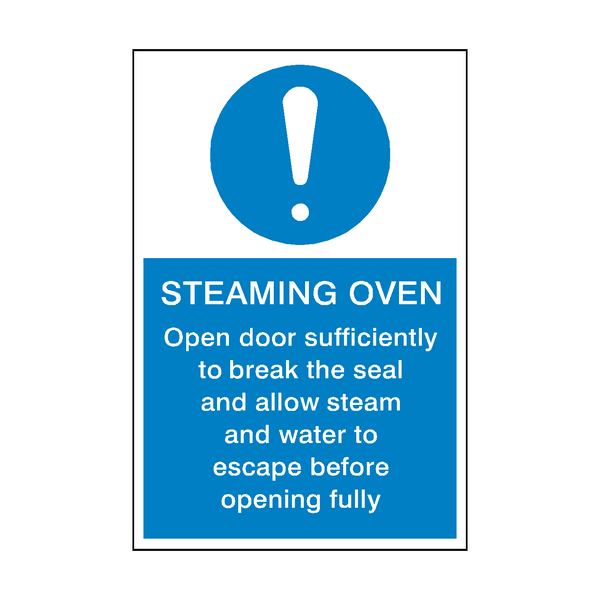 Steaming Oven Instructions Sign | PVC Safety Signs