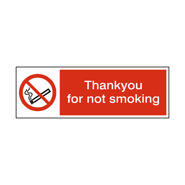 Thank You For Not Smoking Sign - PVC Safety Signs