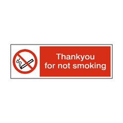 Thank You For Not Smoking Sign | PVC Safety Signs | Health and Safety Signs