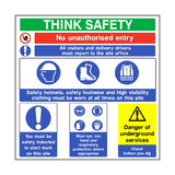 Think Safety Construction Sign - PVC Safety Signs