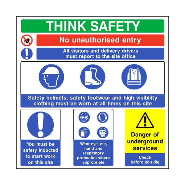 Think Safety Construction Sign Pvc Safety Signs